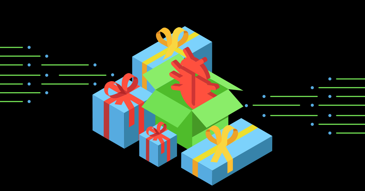 Malware coming out of a gift box.